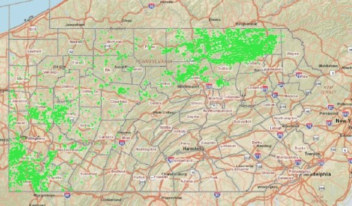 Density and Distribution of Unconventional Drilling Permits Throughout Pennsylvania. Source-‐ PA DEP Oil and Gas Mapping-‐ Unconventional Gas Wells Only.