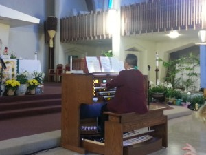 Timothy Cubero Jr. plays the new Rodgers organ in a concert April 27