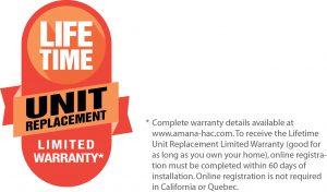 Amana Lifetime Unit Replacement Warranty