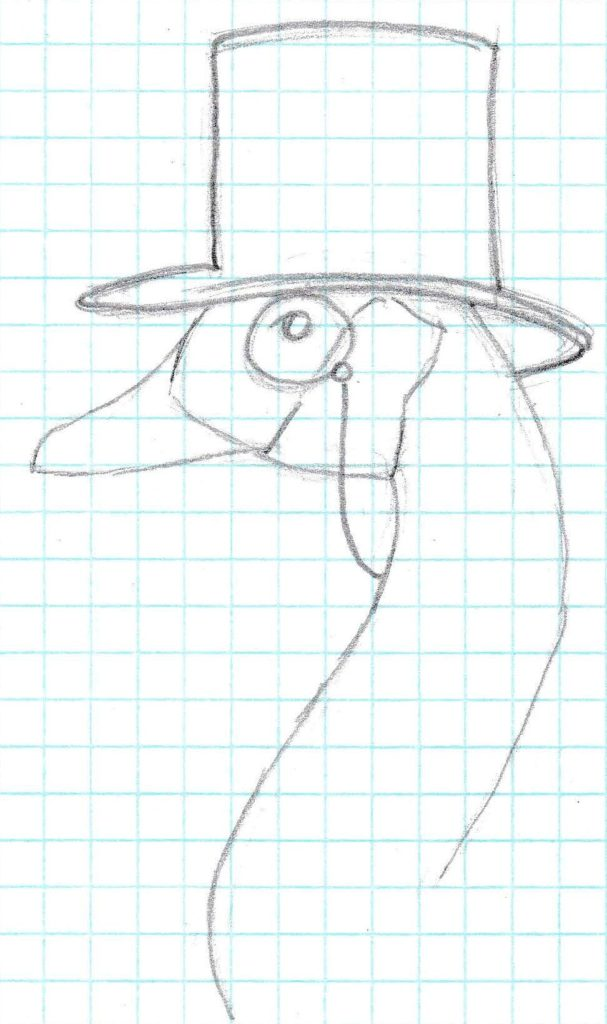sketch of a goose wearing a top hat and monocle