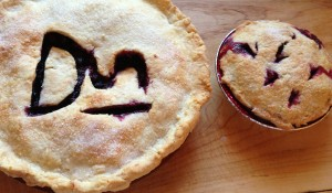 Serviceberry pie with the family cattle brand