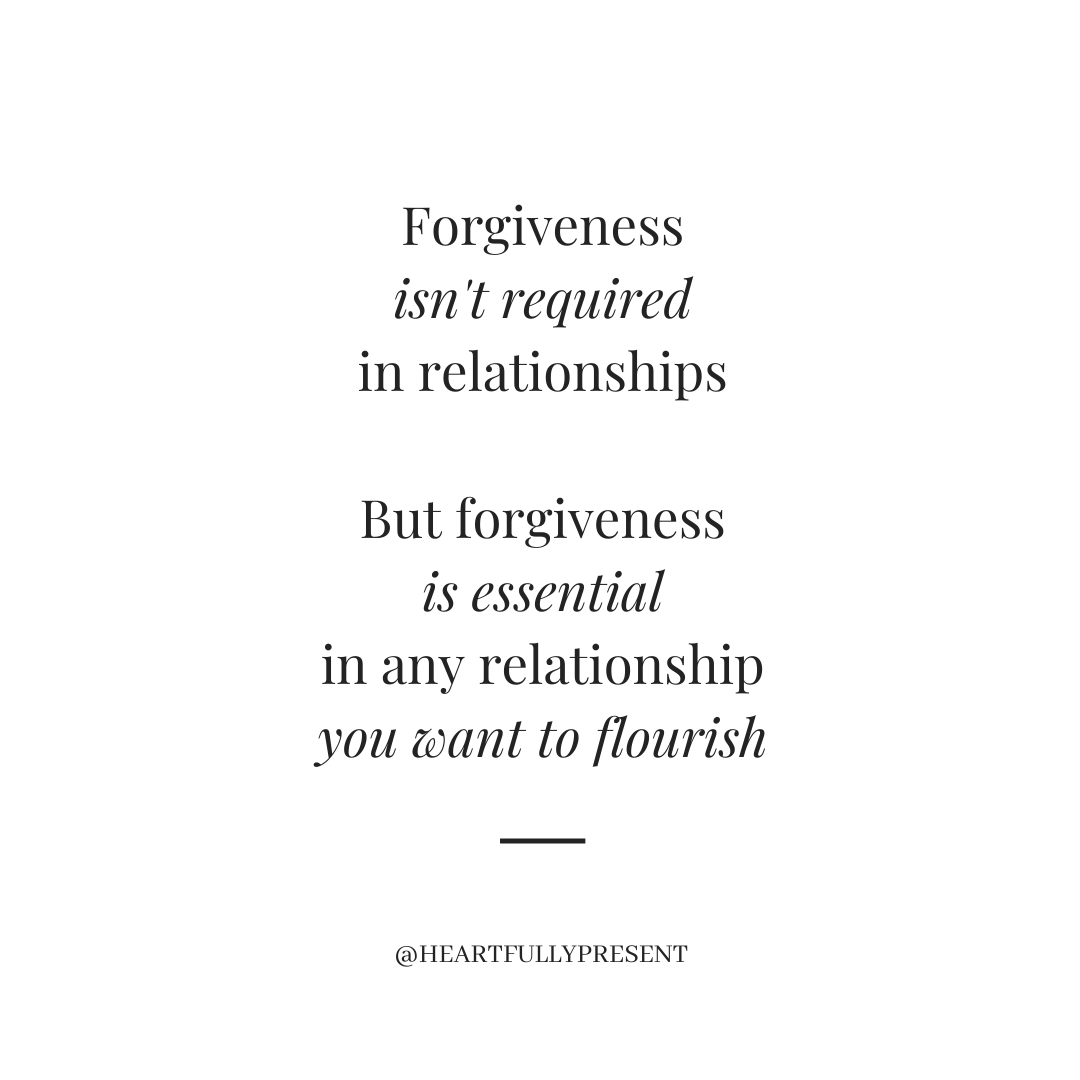 Forgiveness isn't required in relationships, but forgiveness is essential in any relationship you want to flourish, black text on white background
