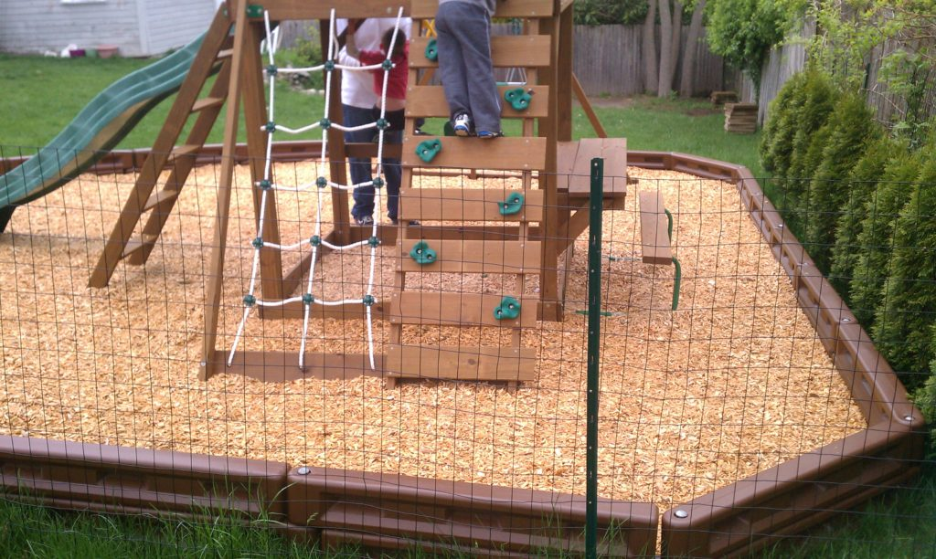 Swingset Rock Climbing Wall & Cargo Climber - Wood Fiber Playzone w/Plastic Borders