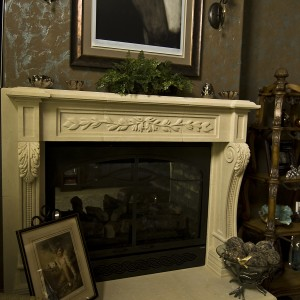 architectural stone fireplace