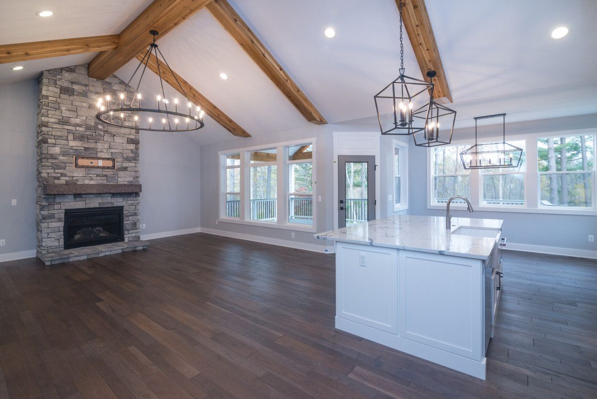Walkout Custom Ranch with Finished Basement - Living Room and Island