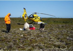 Field work on a palsa
