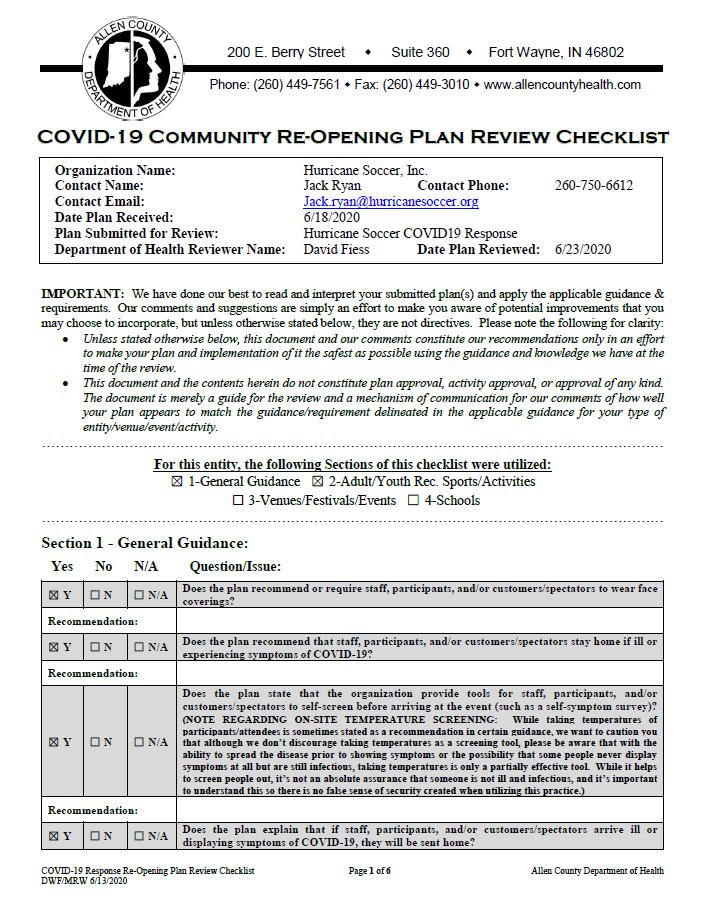 S2020 COVID-19 HURRICANE CHECKLIST