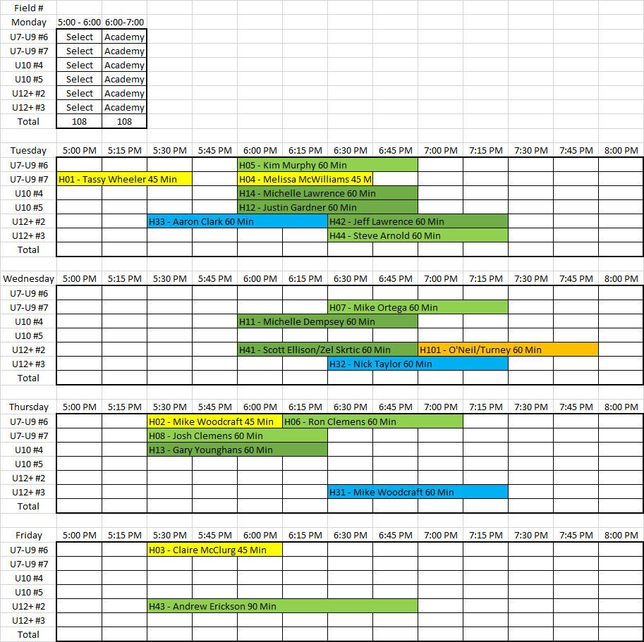 Fall 202 Practice Schedule