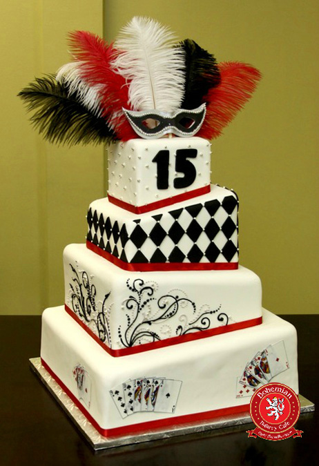 sweet 15 quinceanera four tiered whimsical fondant cake black red white masquerade silver mask feathers playing cards