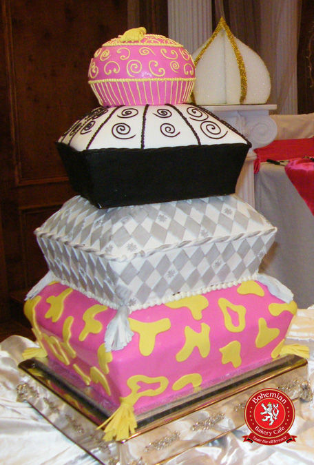 sweet 16 four tiered fondant pillow cake pink silver black