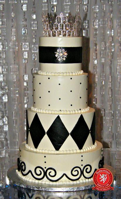 sweet 16 four tiered round cake black white design