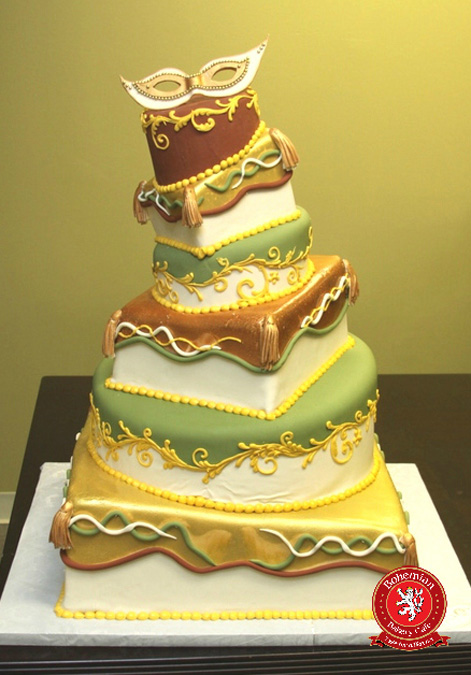 sweet 16 whimsical six tiered fondant cake brown green gold design