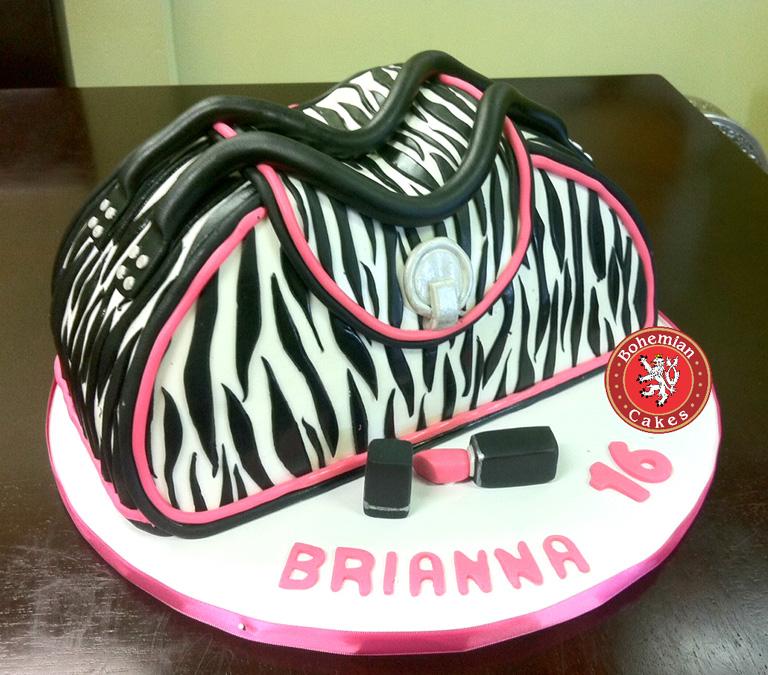 3D BLACK PINK ZEBRA PURSE CAKE