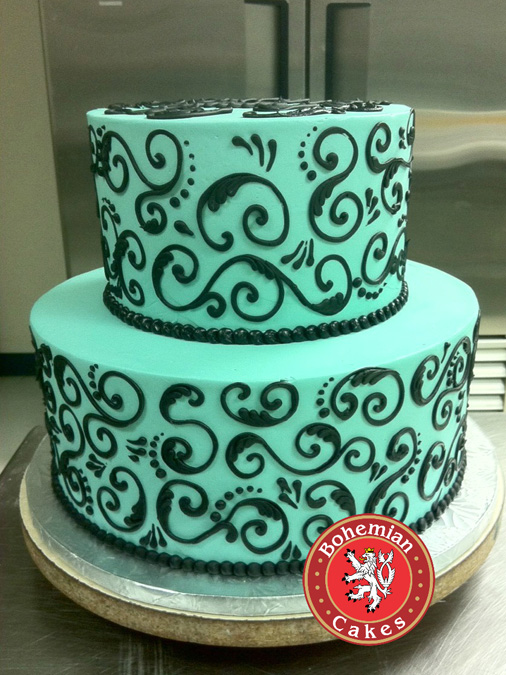 AQUA BLACK TIERED CAKE