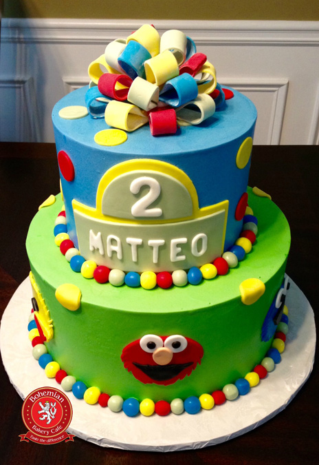 TWO TIERED ELMO CAKE