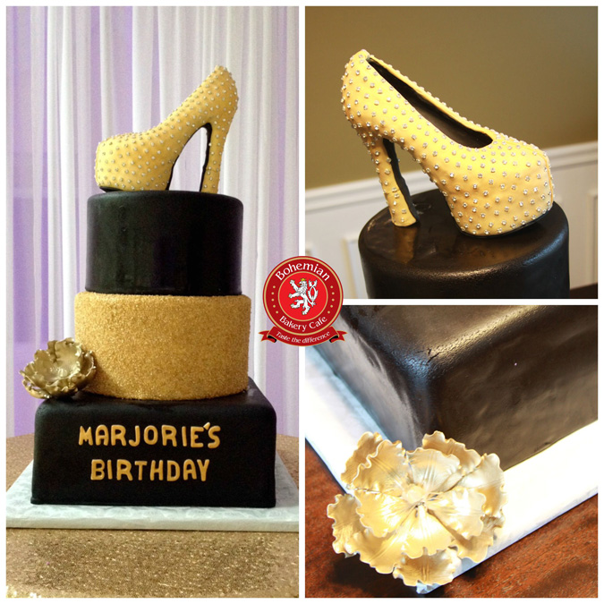 3D GOLD AND DIAMOND SUGAR SHOE BLACK TIERED CAKE