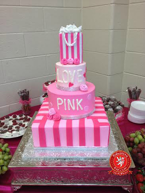 square round sweet 16 four tiered cake pink white with victoria secret bag