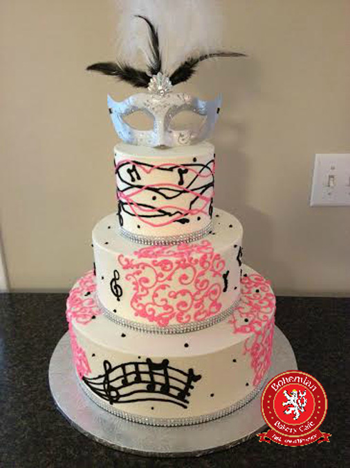 sweet 16 round cake pink black silver musical notes masquerade mask with black feathers