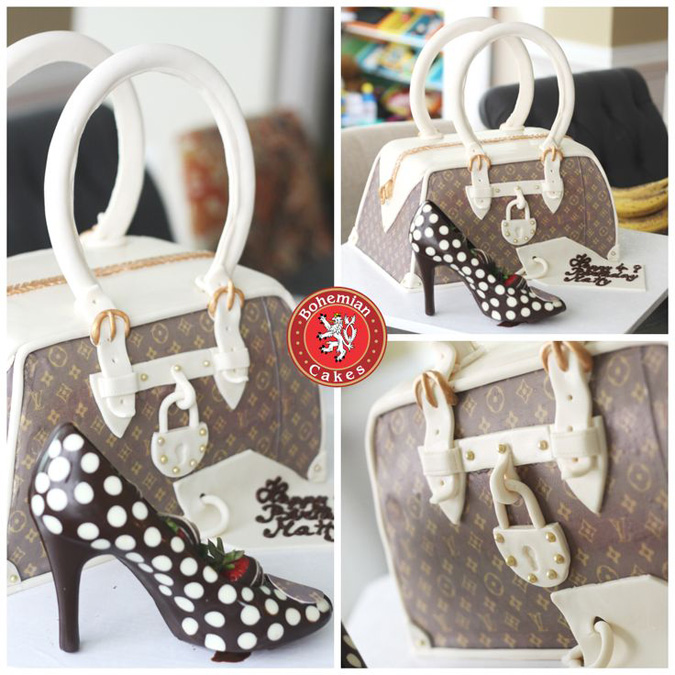 LUIS VUITTON 3D PURSE CAKE WITH CHOCOLATE SHOE