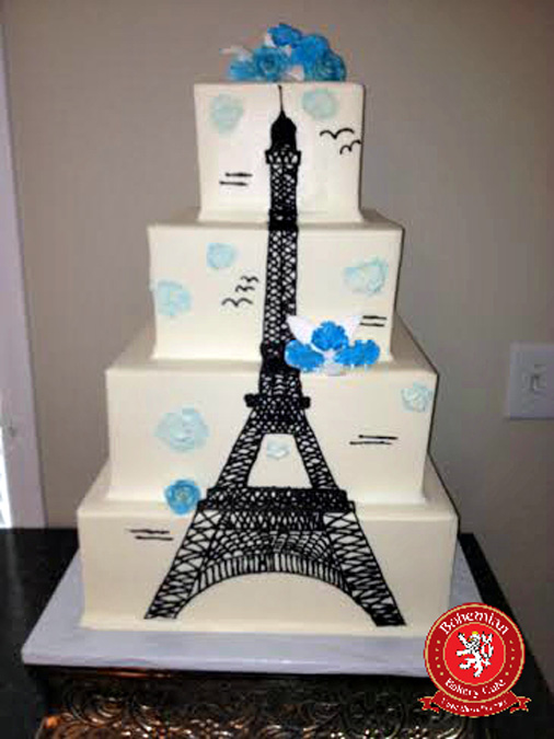 sweet 16 four tiered square cake black Eiffel tower