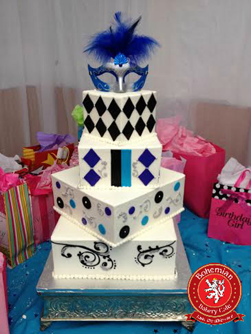sweet 16 four tiered square cake black blue masquerade silver mask