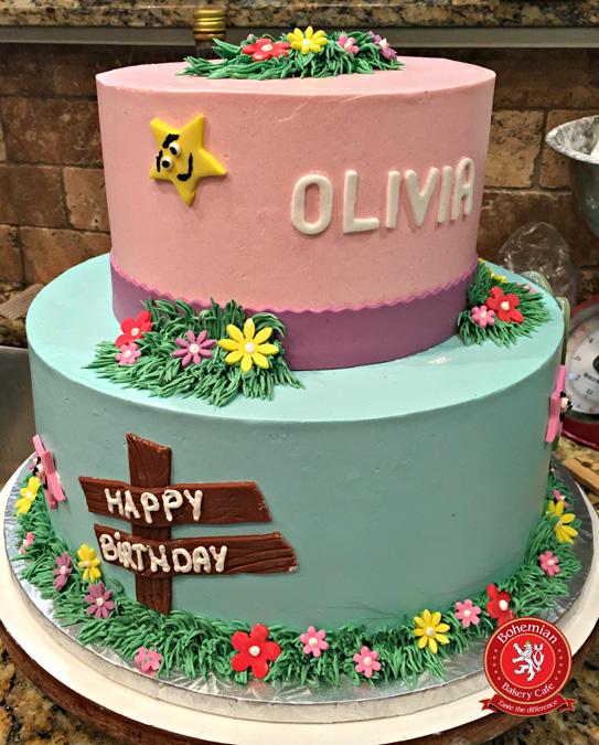 PINK FLOWER GARDEN CAKE