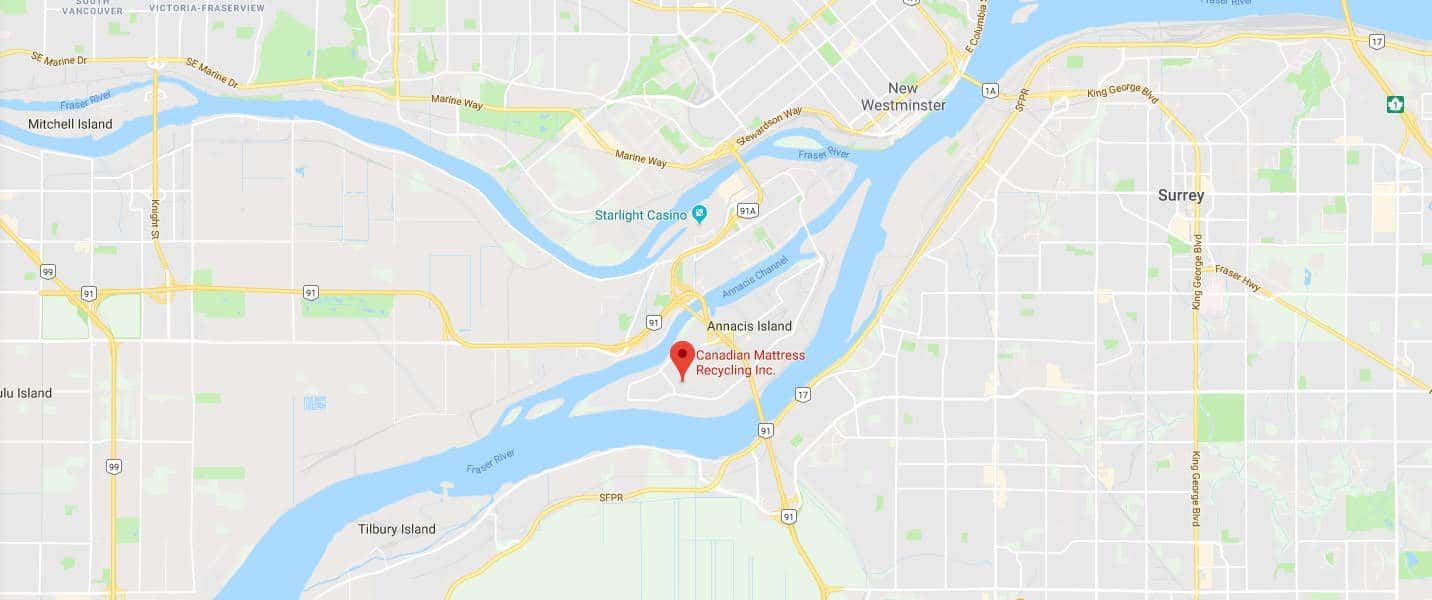 Business Location Map for Canadian Mattress Recycling