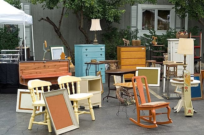 Spring Cleaning Yard Sale with Furniture