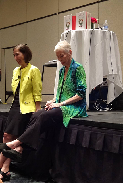 """Louise and Heather sitting on the stage in Orlando 2015. This was right before Heather spoke at the Hay House I Can Do It on Loving Yourself to Great Health. Just before Louise opened for Heather, without any rehearsal, they began singing the 1938 song, """"Two Sleepy People"""" which got people coming into the room, laughing, and singing along."""