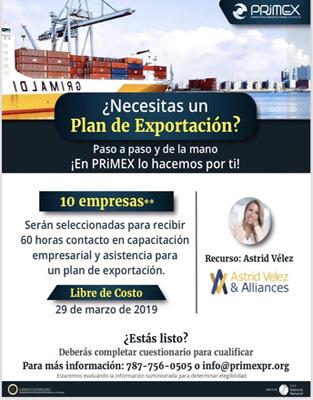 Taller de Capacitación Empresarial y Asistencia para el Desarrollo de un Plan de Exportación
