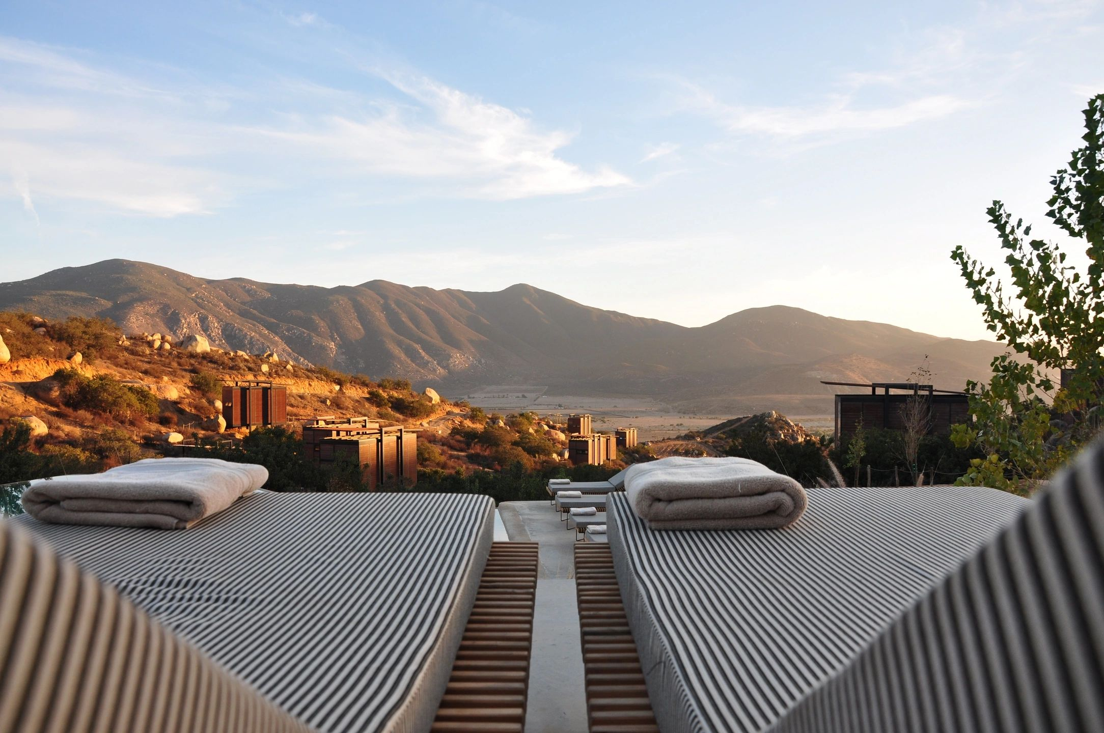 sun beds with view of mountains