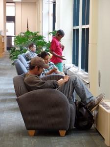 patrons reading