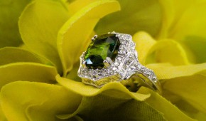 Hand Engraved Green Tourmaline Custom Ring in White Gold