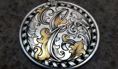 hand engraved, gold inlaid, initial pendant