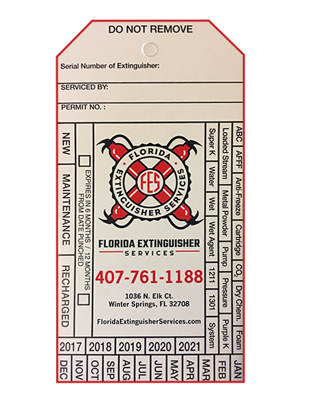 Inspection Tag for Fire Extinguishers