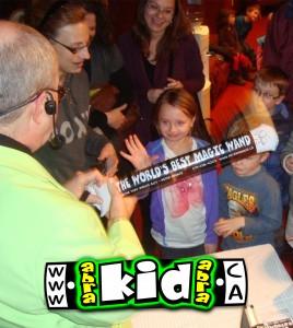 Peter Mennie Magician meeting kids after Listowel Magic Show