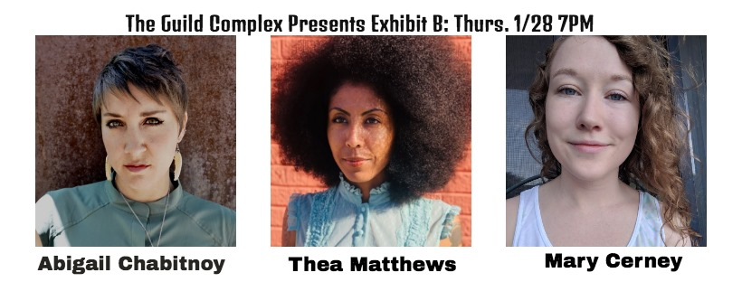 Flyer for Exhibit B event -- three author photos