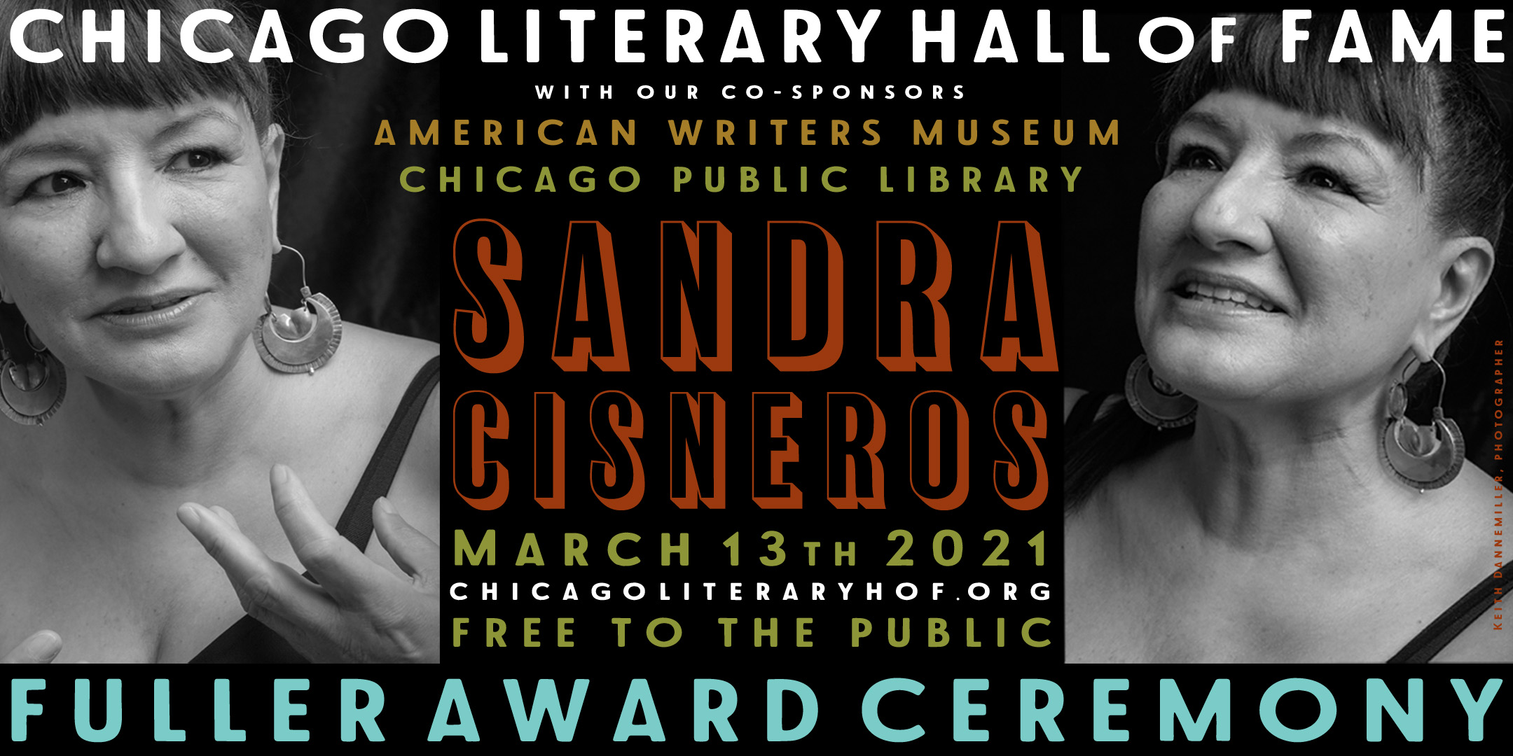 IMAGE: two photos of Sandra Disneros, speaking and smiling. TEXT: Event information
