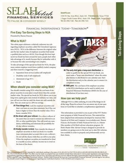 Five Easy Tax-Saving Steps to NUA 2015