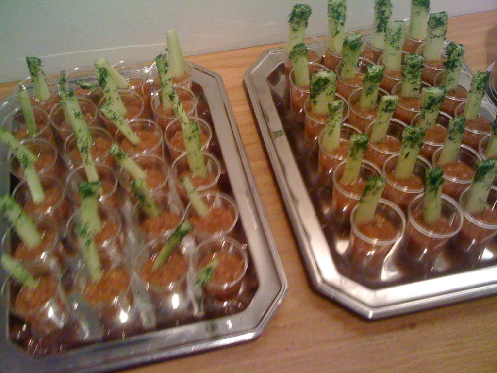 Gazpacho shots with cucumber spears