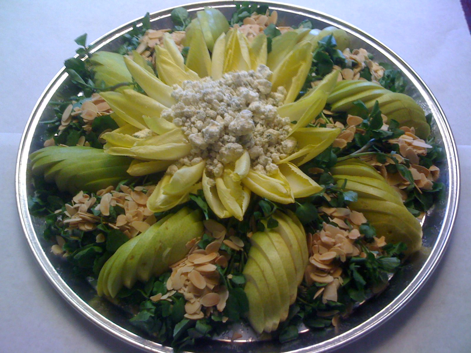 Watercress and Endive with Pears, Gorgonzola and Slivered Almond