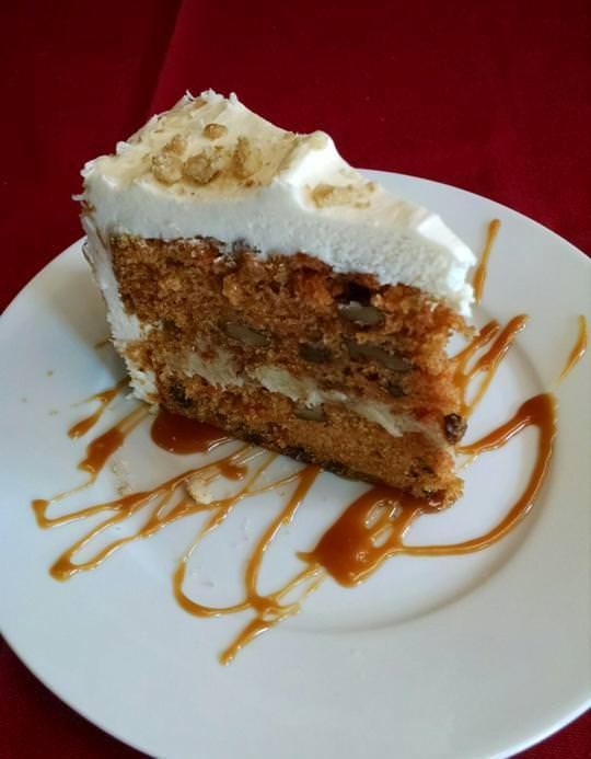 Carrot Cake with Pecan Caramel Filling