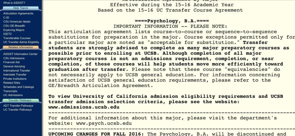UCSB Psychology major