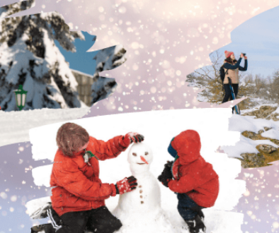 Family sledding, building snowman, and taking winter pictures