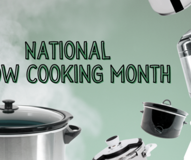National Slow Cooking Month text with various slow cookers and pressure cookers