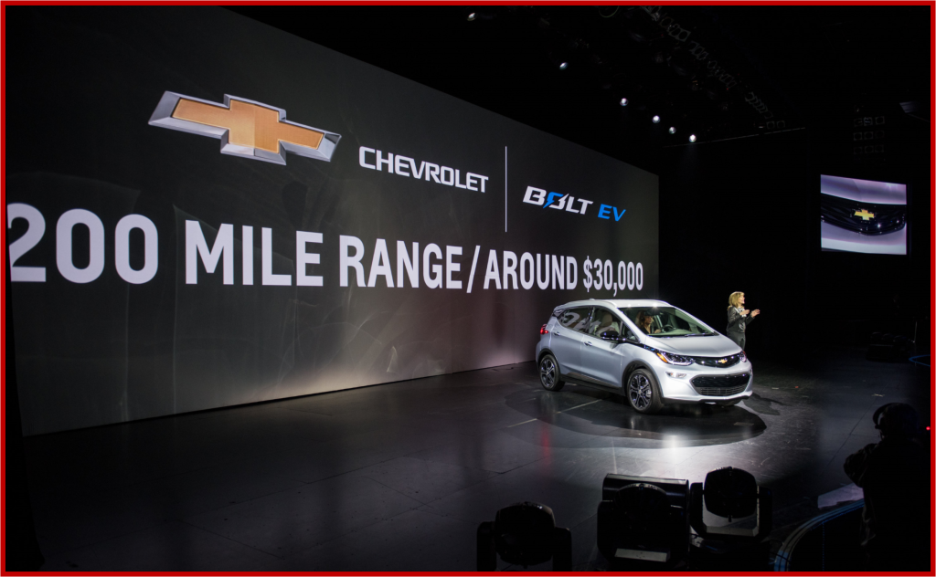 General Motors Chairman and CEO Mary Barra introduces the 2017 Chevrolet Bolt EV at its world debut during the Consumer Electronics Show Wednesday, January 6, 2016 in Las Vegas, Nevada. The Bolt EV offers more than 200 miles of range on a full charge at a price below $30,000 after Federal tax credits. The Bolt EV features advanced connectivity technologies and seamless integration. The Bolt EV will begin production by the end of 2016. (