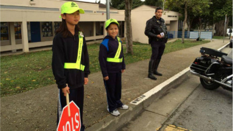 Students in San Francisco being trained to be crossing guards on March 3, 2014. (Commodore Sloat Elementary School)