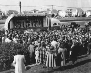 War bond sales in front of Commodore Sloat School in the 1940s. Junipero Serra Blvd. appears behind, paved now, as compared to 1927 photo above.
