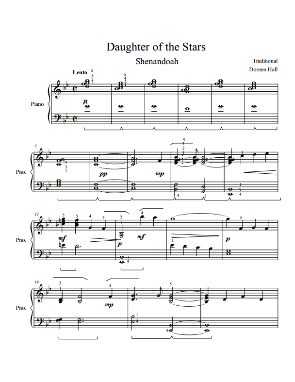 Paloma Piano - Shenandoah - Daughter of the Stars - Page 1