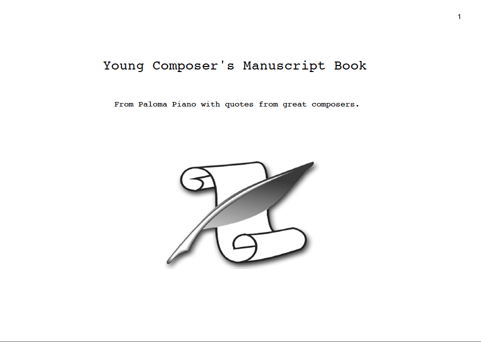 Paloma Piano - Young Composer's Manuscript Book - Cover